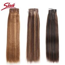 Sleek Remy ผมบราซิล Yaki Straight Human Hair Bundles 1 ชิ้นเปียโน P4/30 # P1B/27 # p6/27 # Hair Weave Extensions 113 กรัม