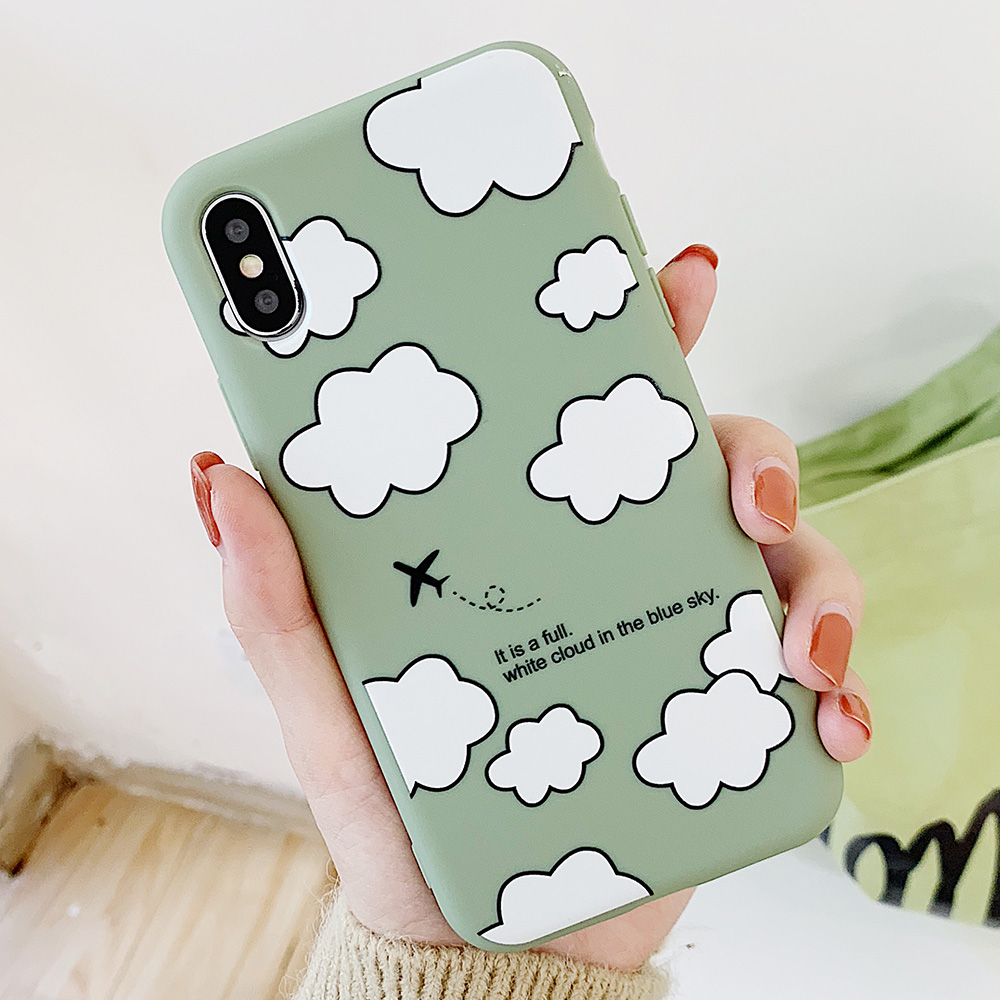 KIPX1114_5_JONSNOW Matte Phone Case for iPhone XS Max X XR Cases White Clouds Pattern Soft Silicone Cover for iPhone 6 6S 6P 7 8 Plus