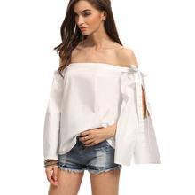 Fashion Sexy Women Off Shoulder slash neck Casual Loose Long Sleeve Shirt Tops Blouse bow split sexy bodysuit Women deep v neck