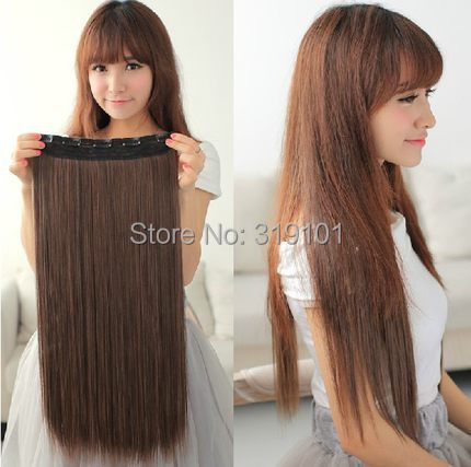 free shipping 5 clip in hair extension straight synthetic