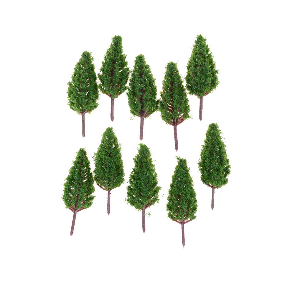 10pcs/Set Plastic Trees Model For Railroad House Park Street Layout Green landscape Scene Scenery 68mm Christmas Tree