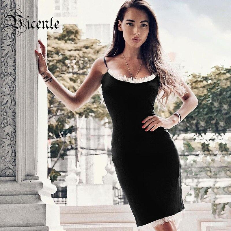 Vicente 2019 New Stylish White Lace Splicing Design Sexy Sleeveless Backless Celebrity Party Club Bandage Mini