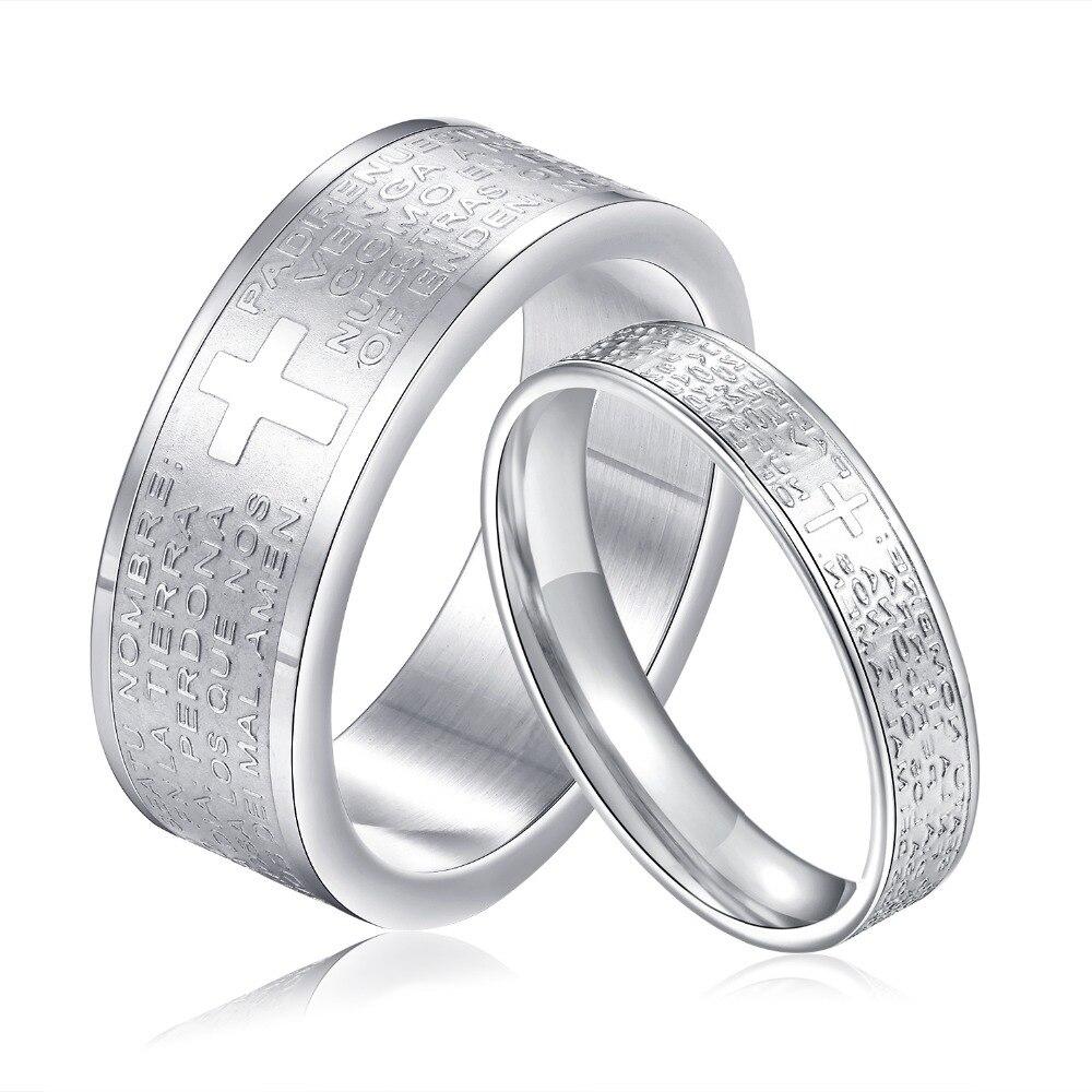 Stylish Cross Simple Titanium Steel Couple Rings Men Women Finger Ring Romantic Lovers Round Ring Anillos de boda Gift for Girl