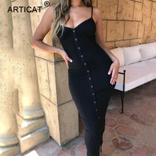 Articat Autumn Spaghetti Strap Long Pencil Dress Women Sleeveless Backless Sexy Split Bodycon Dress Casual Party Dress Vestidos(China)