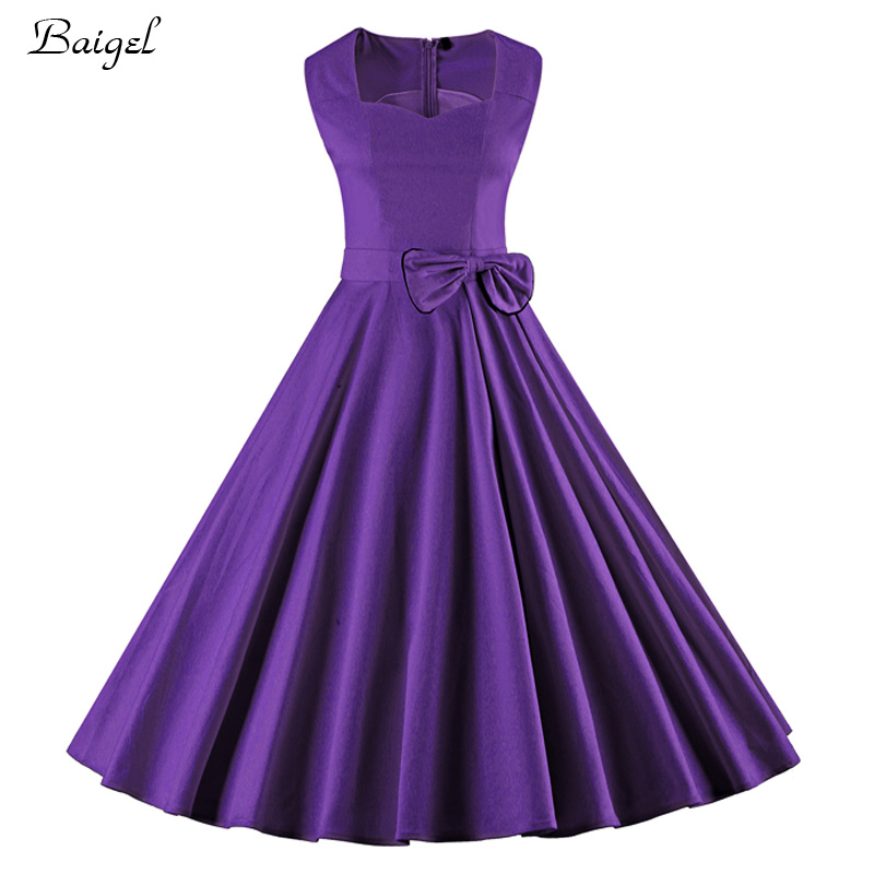 Womens bow knot summer vintage dress 2017 1940s 1950s 60s for Purple summer dresses for weddings
