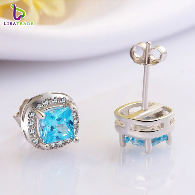 New Arrival 925 Sterling Silver Earrings with Beautiful Sea Blue Crystal Fine Jewelry Female Earrings Accessories C153