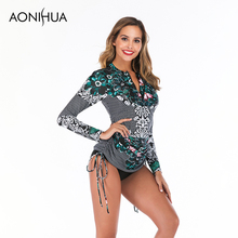 Aonihua Two Piece Swimsuit Female Separate Retro Green Floral Print Long Sleeve Beach Surfing Swimwear Suit S-2XL