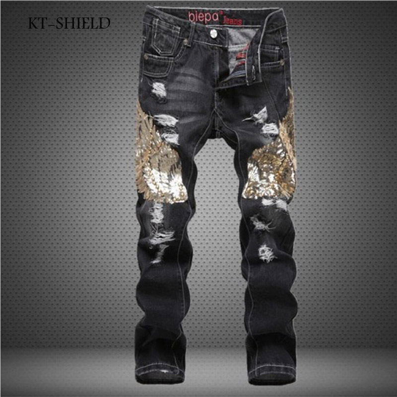 Winter Men Skinny jeans Solid casual Eagle punk hip hop full length pants fashion Cotton vaqueros hombre Man denim Harem pants fashion 3d printed embroidery jeans men biker ripped slim full length pants cotton cargo harem casual trousers vaqueros hombre