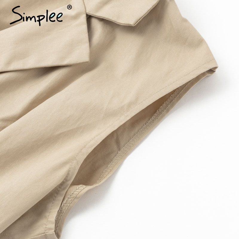 HTB1N ctUAPoK1RjSZKbq6x1IXXaq - Simplee Elegant sashes khaki cotton women playsuit Summer pockets button zipper rompers short jumpsuit Office ladies overalls