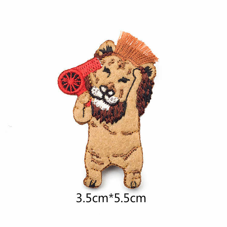b224aa1f816 ... Japanese Stylle Cartoon Animals Brooches Lion Tiger Embroidery Pin for Girls  Lapel Pin Hat/bag ...