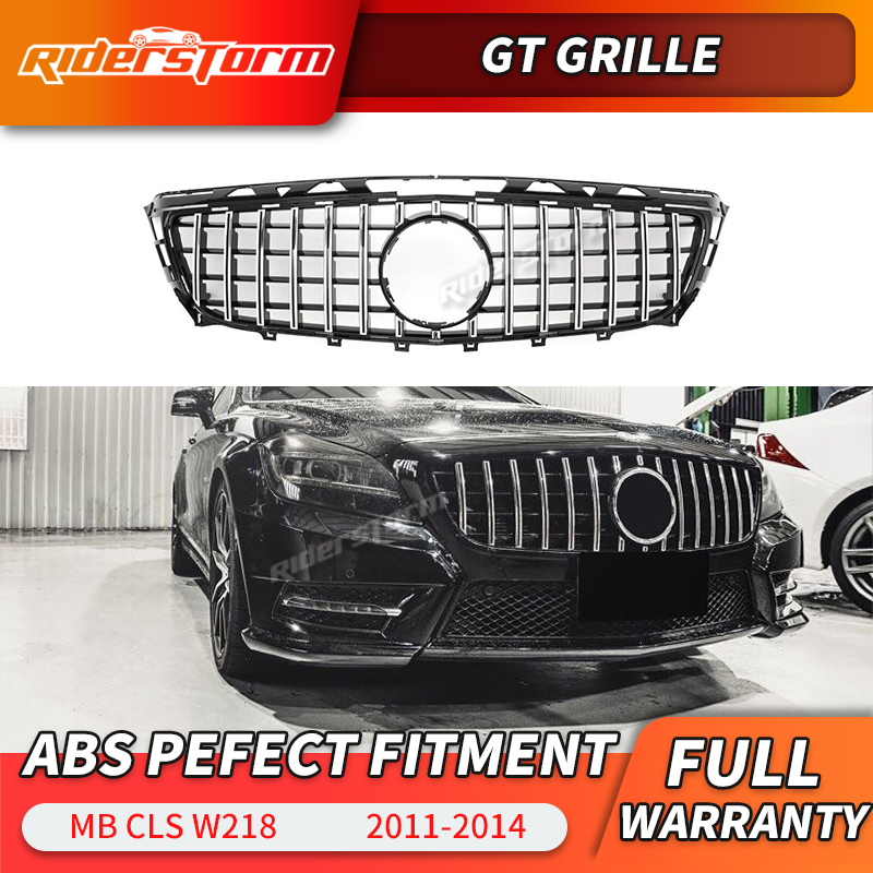 For <font><b>W218</b></font> GT <font><b>grille</b></font> GTR <font><b>grille</b></font> for Mercedes CLS Class 2011-2014 Replacement mesh car accessories front bumper without emblem image