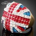 משלוח חינם חיקוי יהלום פלטינה מצופה אמייל, תכשיטים אלגנטיים האופנה האוסטרי קריסטל אירוסין פרח טבעות