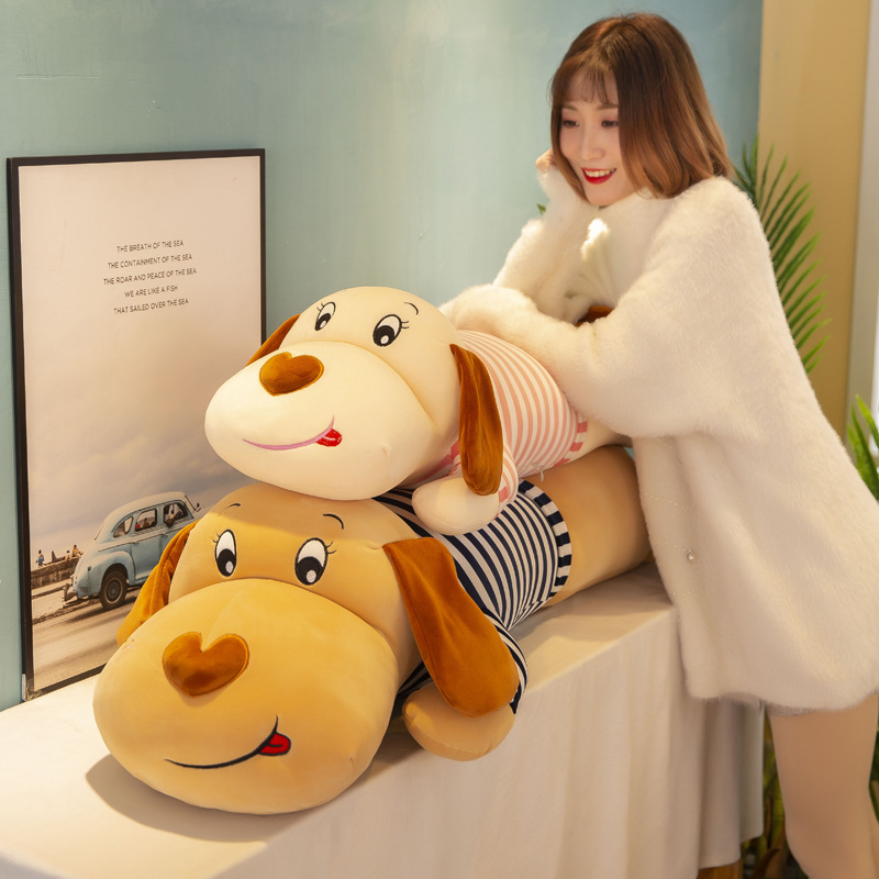 50-100cm New Soft Body Couple Striped Big Dog Dog Doll Home Decoration Sofa Pillow Children Girl Holiday Gift Toys WJ052