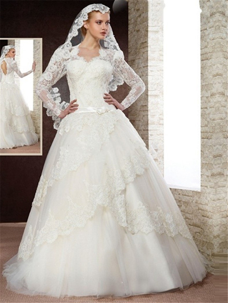Long sleeve luxury princess lace ball gown wedding dress for Online wedding dress stores
