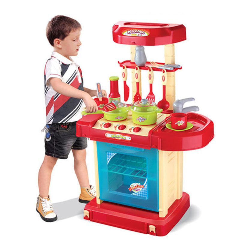 Pretend Play Kitchen Toys Simulation Work Table Tableware House Toy Suitcase Child Multifunctional Pretending Games PGM137 2018 new disney mickey series supermarket child car play toys simulation child play house toys trolley set birthday gifts
