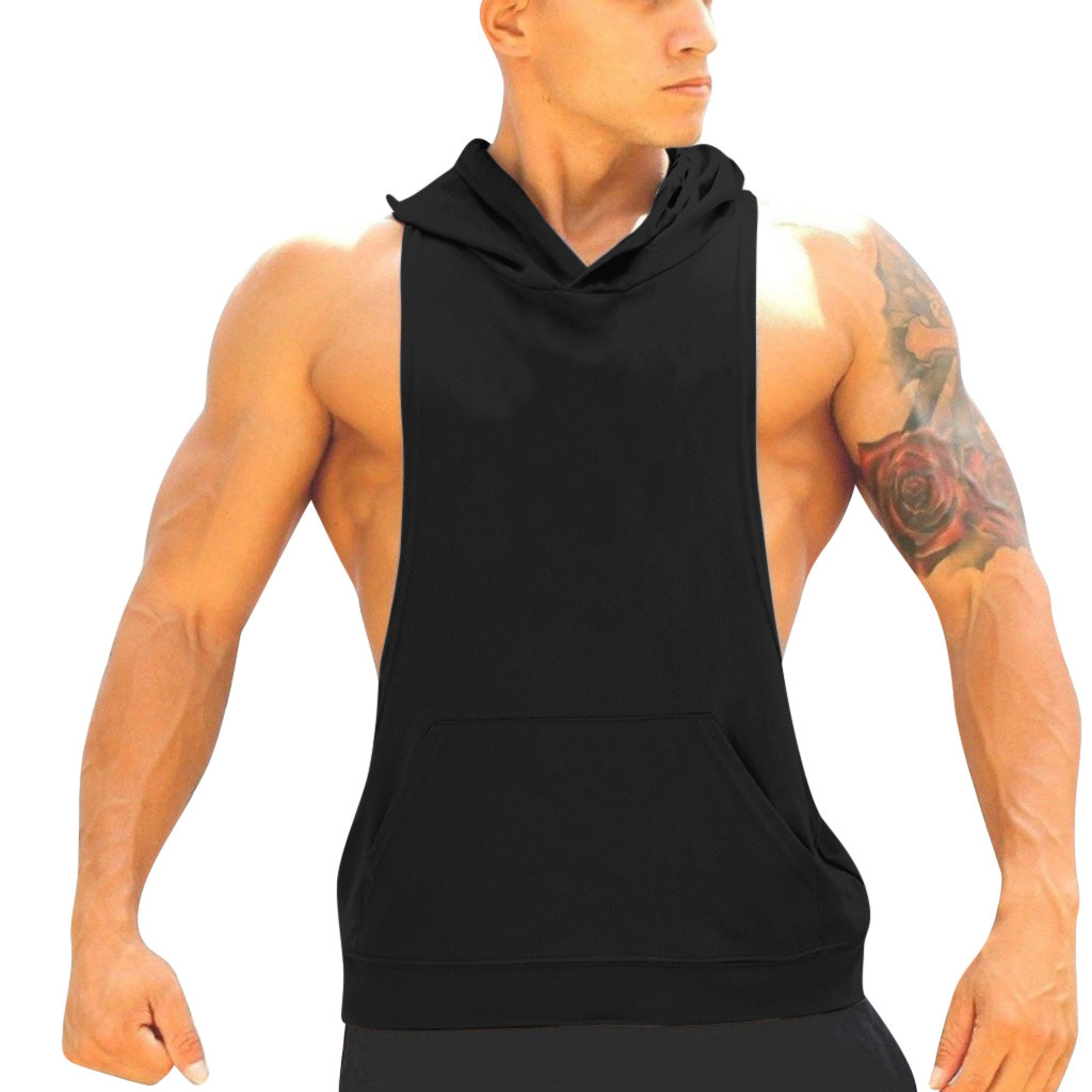 Running New arrival Hoodie Sweatshirts fitness clothes bodybuilding   tank     top   men Sleeveless sporting Shirt Casual waistcoat