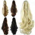 Hot Sell Women Synthetic Hair Claw Ponytails with Drawstring Lady Wavy Hairpieces 24inch High Quality Pony Tails for Lady