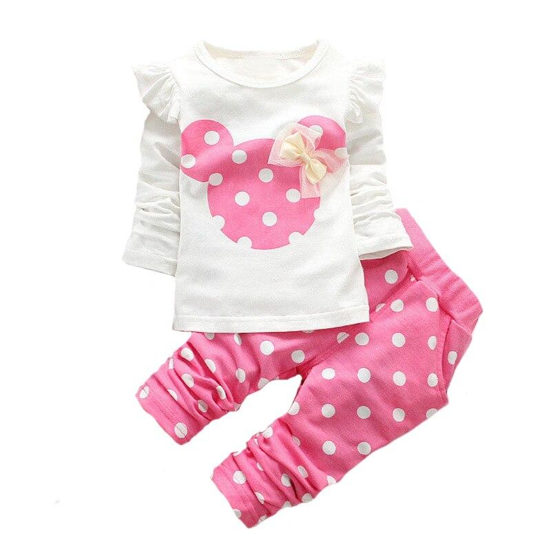 Baby Girls Clothes Kids Clothing set Children Cartoon Long sleeve T shirt+Dot pants cotton Sport set 2pcs Baby wear