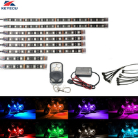 KEYECU 8Pcs Motorcycle LED Light Kit Strips Multi Color Accent Glow Neon Lights Lamp Flexible With