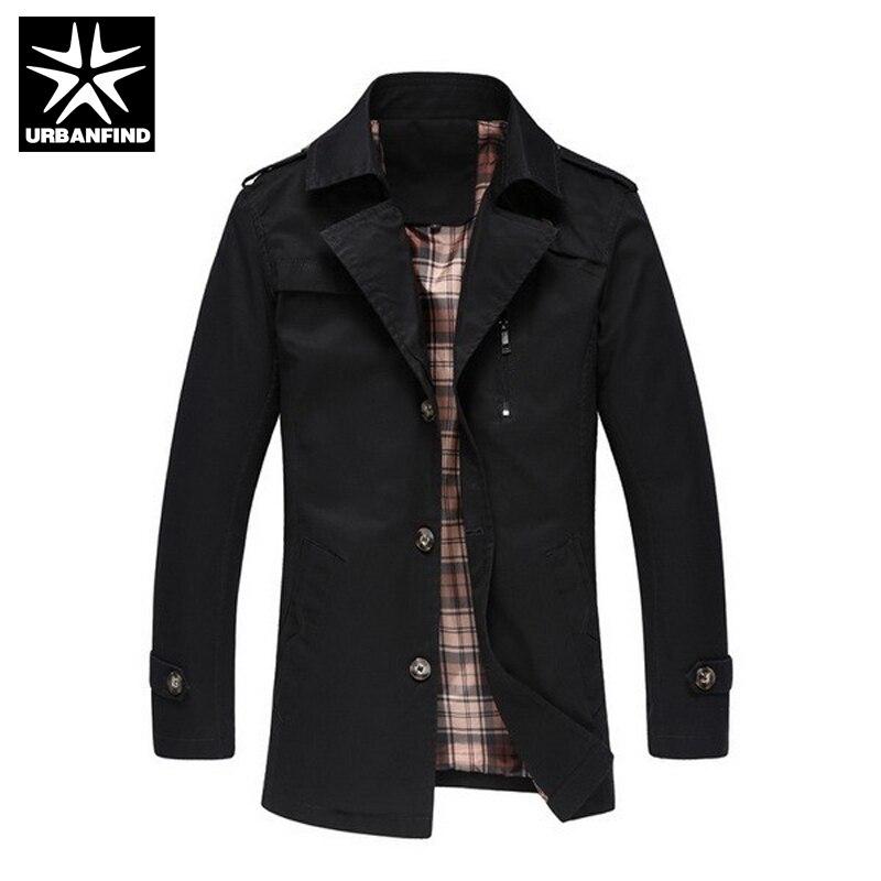 Men Fashion Windbreaker Casual Outerwear Big Size M 5XL Men Long Jackets Turn down Collar Single
