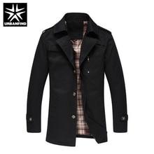 Männer Mode Windjacke Casual Oberbekleidung Großer Größe M-5XL Männer Lange Jacken Umlegekragen Einreiher Stil