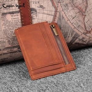 Image 3 - Cobbler Legend Thin Genuine Leather Card Wallet Men Bank Purse New Coin Bag Mini Wallet Id Holder Women Travel Pocket Wallet