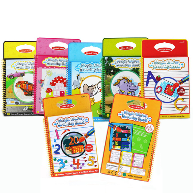 6 colors magic water drawing book coloring books doodle with 1 magic pen paint painting board for children education drawing toy - Paint With Water Coloring Books