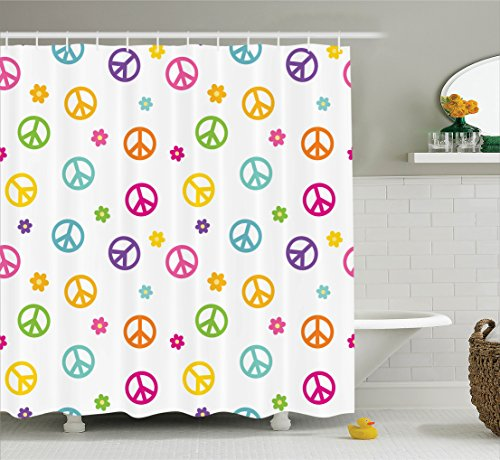 Memory Home Modern Waterproof Shower Curtain Peace Symbol Old Lifestyle Sign  Polyester Fabric Bath Curtain Bathroom Decor