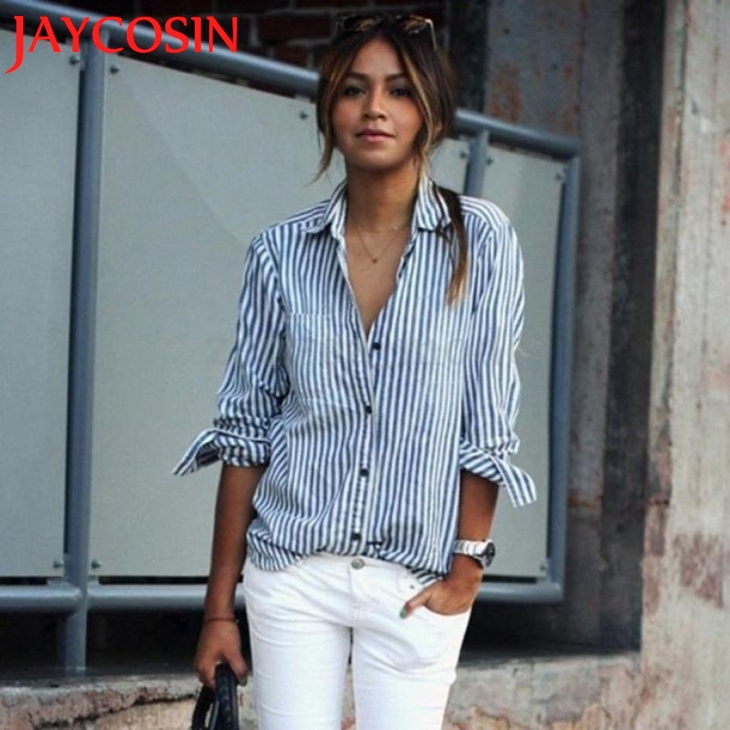 Blouses & Shirts Women Striped Long Sleeve Loose Blouse Casual Cloth Tops Tops LEVERT DROPSHIP321