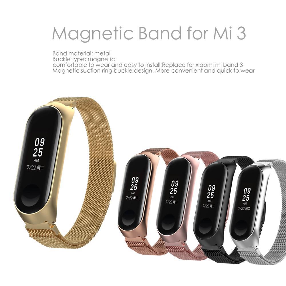 Mi Band 3 Strap Bracelet Magnetic Attraction Metal Wristband And Xiaomi Mi Band3 Xiomi Smart Mi3 Band Accessories Wrist Strap
