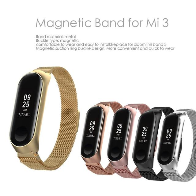 Mi Band 3 Strap bracelet Magnetic attraction metal Wristband and Xiaomi Mi Band3 xiomi Smart mi3 Band Accessories wrist Strap
