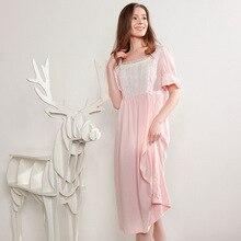 Summer Sleepwear Female Pure Cotton Short Sleeve Thin Retro Palace Princess Nightdress Loose Womans Nightgowns D181215