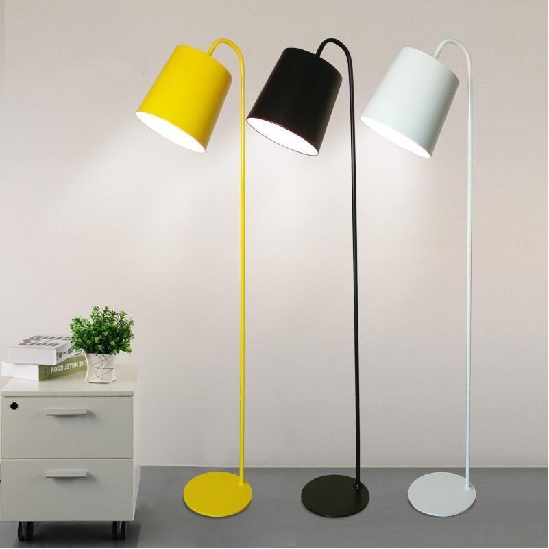 US $186.74 17% OFF|Modern Colin Floor Lamps Lights 110V/220V E27  Yellow/White/Black Bedroom Living Foyer Study Lights Hotel Loft Cafe Bar  Home Lamp-in ...