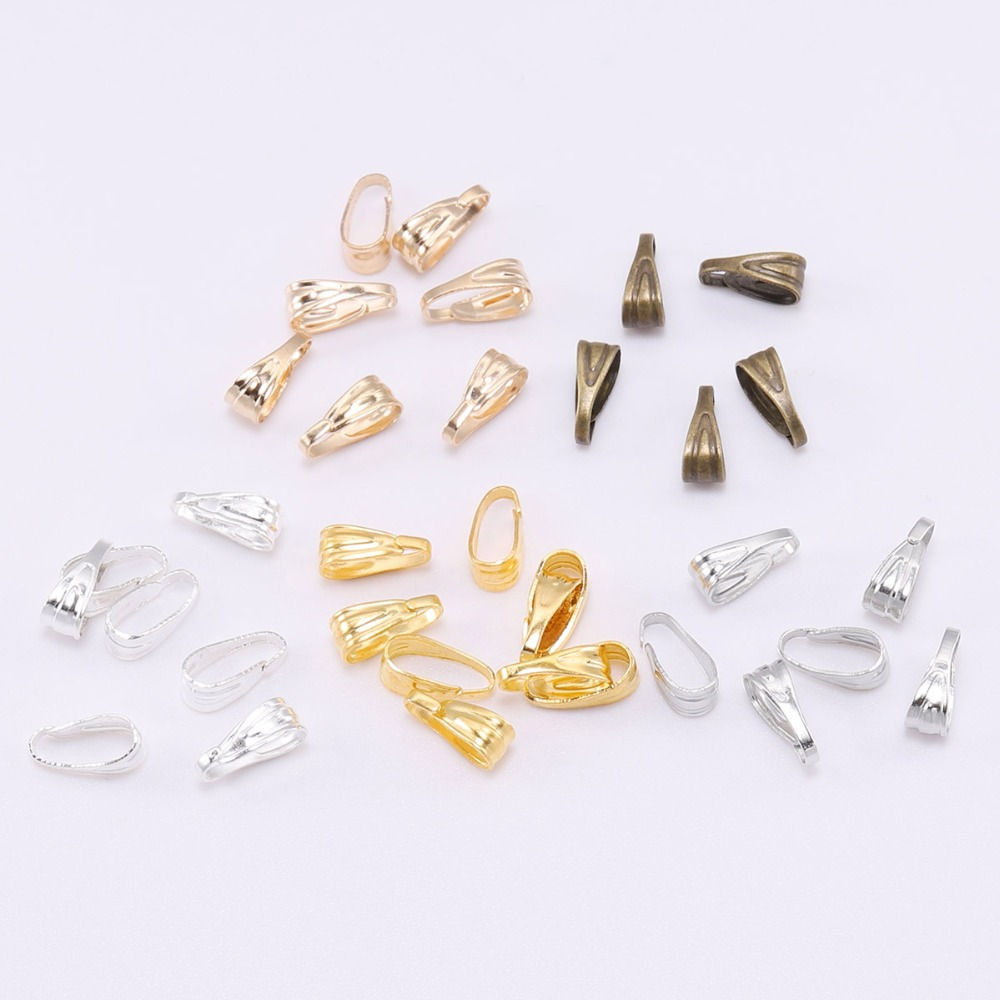 100pcs/lot Pendant Clasps Bail Clasps Care Buckle Necklace Pendant Connector For Jewelry Making DIY Necklace Accessory Supplies