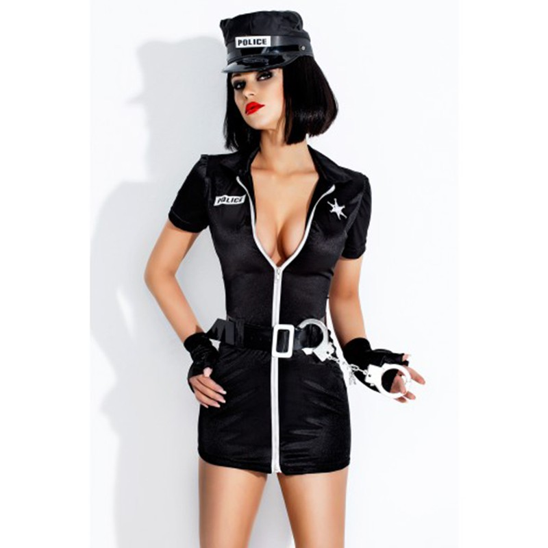 High Quality New Female Black Cop Uniform Outfits Sexy Police Officer Costume Women Club Game Halloween Cosplay Costumes W348850