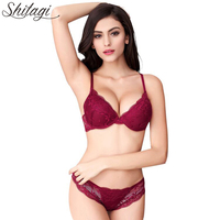 Shitagi Woman Sexy Lingerie Lace Bra Gather Adjustable Intimate Push Up Young Bra And Panty Sets