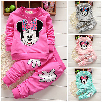 Lovely Baby Girls Minnie Mouse Tops  Pants 2Pcs Costume Outfits Set 0-4Y girls baby long sleeve tops t shirt bib cartoon minnie 2pcs outfits set 1 5y
