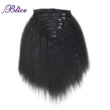 Blice 18 Clips In Haar Haarteile 16 20 Inch Verworrene Gerade Lange Synthetische Wärme Beständig Haar Extensions 8 teile/satz deal