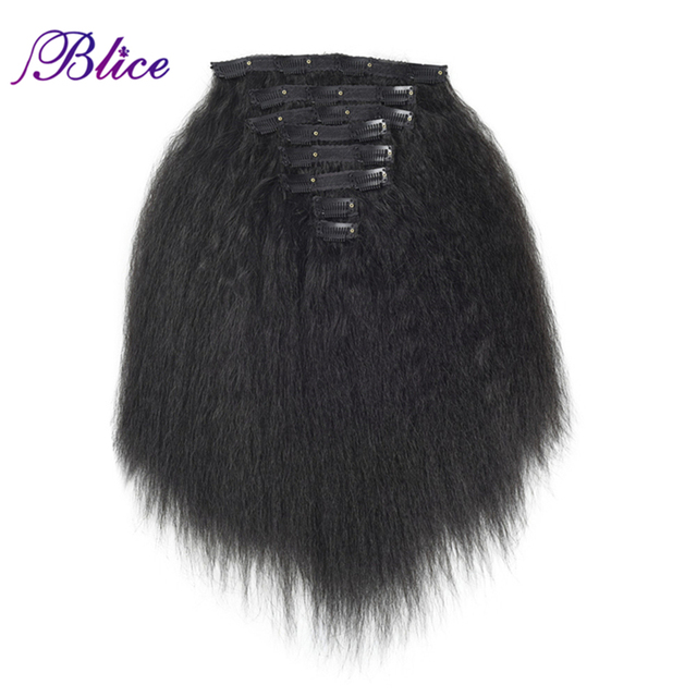 Blice 18 Clips In Hair Hairpieces 16 20 Inch Kinky Straight Long Synthetic Heat Resistant Hair Extensions 8Pcs/set Deal