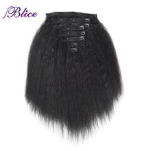 Blice 18 קליפים שיער Hairpieces 16 20 אינץ קינקי ישר ארוך סינטטי עמיד בחום שיער הרחבות 8 יח\סט להתמודד