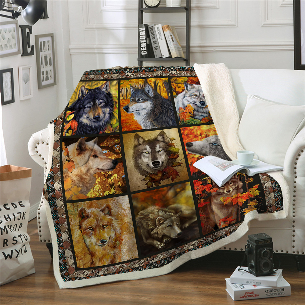 3D Wolf Blanket Plush Throw for Beds Sofa Noble Animal Print Bedding Sherpa