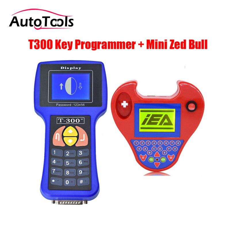 Auto Clé de voiture Programmeur T300 V16.8 Anglais/Spansih et mini zed bull clé DE VOITURE lecteur de code via livraison gratuite