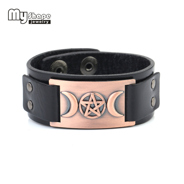 My Shape Leather Men Bracelet Vintage Metal Triple Dess Sign Black And Brown Band Bracelets