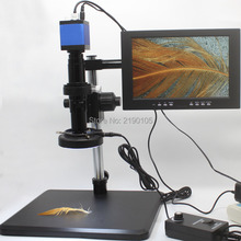 Discount! HDMI USB 1080P Industrial Microscope Camera Video Magnifier Trimming Bracket 10-inch Montior Mobile Phone Board Repair