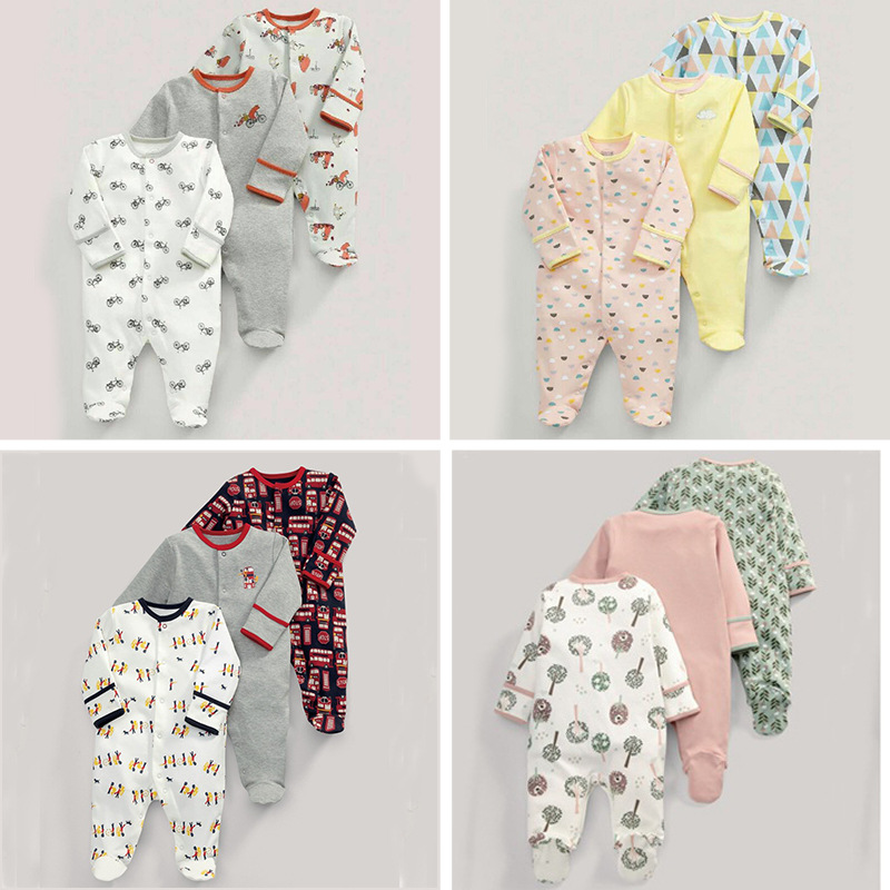 3 sets of baby children one-piece suit suits cotton long-sleeved boys and girls home clothing suits children of rhatlan