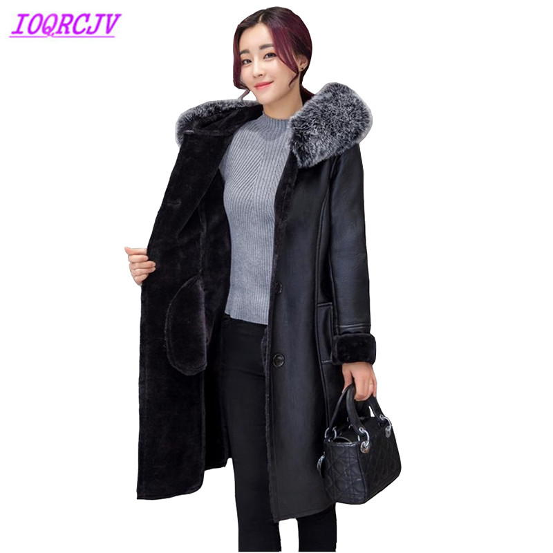 Winter Women's Flocking PU   Leather   Jacket Coats Plus size 7XL Thick Warm   Leather   Outerwear Hooded Fur collar Coats IOQRCJV Q017