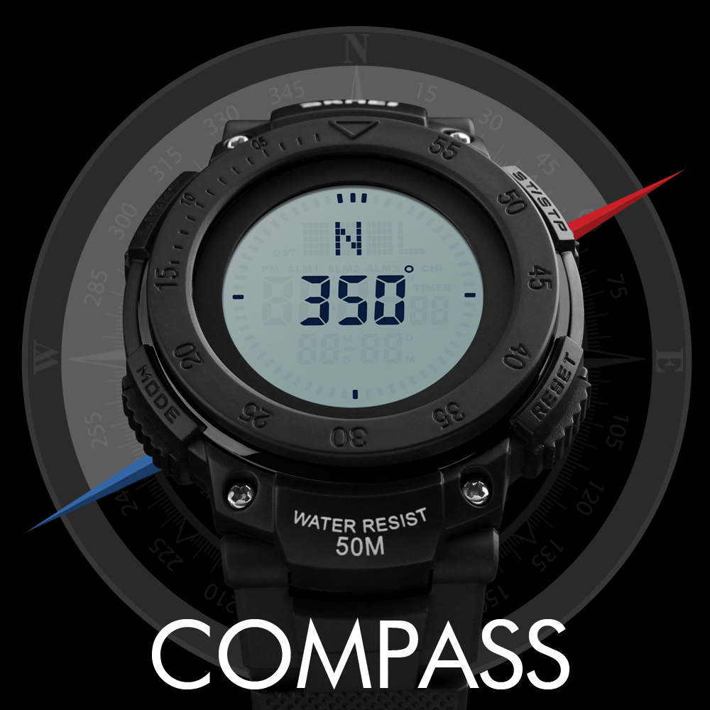 <font><b>SKMEI</b></font> Outdoor Military Watches Compass Men Sports LED Digital Watch Brand Man Wristwatches Relogio Masculino 1236# Clock Brand image