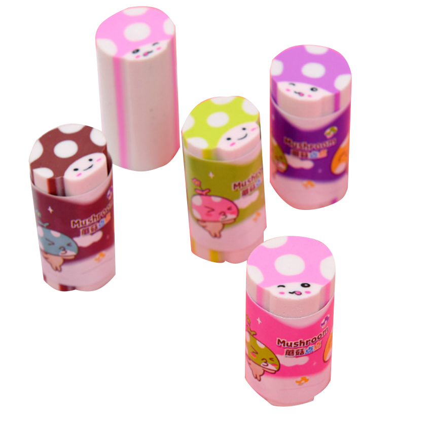 1pc lot Kawaii Eraser Mushroom Dot Colorful Student Rubber Cylinder Eraser Cute Stationery School Office Supplies Student Gift in Eraser from Office School Supplies