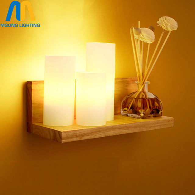 LED Wooden Glass candle modern decorative wall lamps fixture art for ...