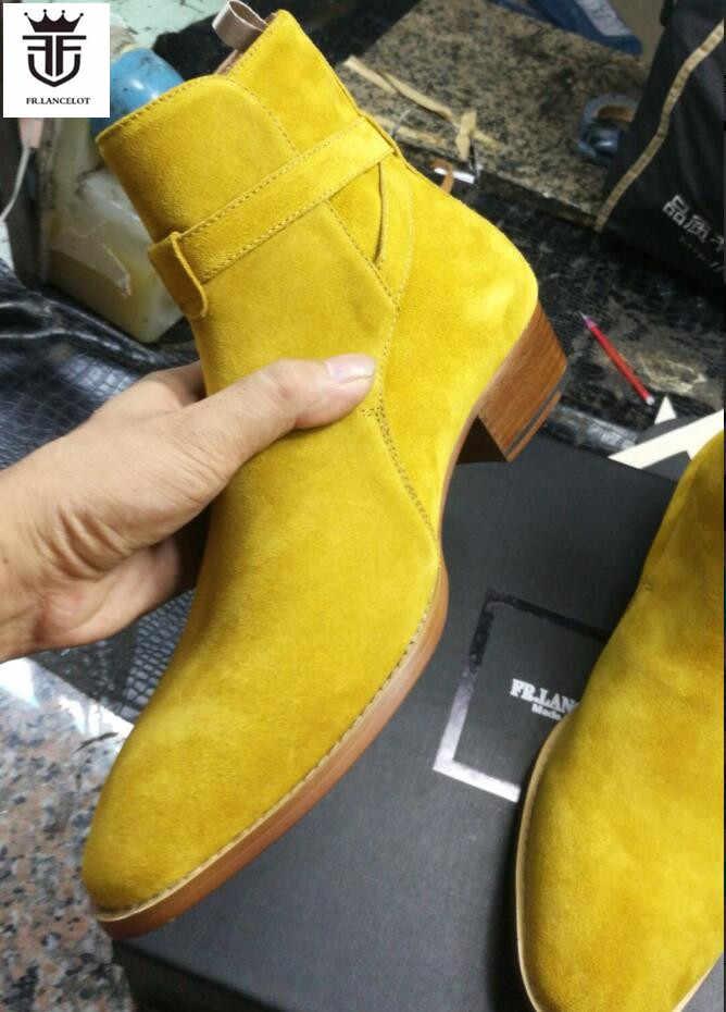 FR. LANCELOT 2019 süet deri erkek patik toka kayış Chelsea Çizmeler üzerinde kayma yarım çizmeler erkek Moda med Sonbahar Çizmeler